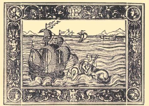 Ilustración de la portada de Los seys libros del Delphín de Luis de Narváez, 1538