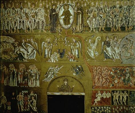 Cuatro franjas inferiores del mosaico. En el segundo nivel, la Etimasía, con el trono en el centro